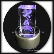 3D laser gravé cristal cadeau d'anniversaire à base de Led