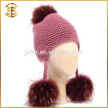 Sombrero barato vendedor caliente de la gorrita tejida del pompón de la piel del mapache de Pom Pom