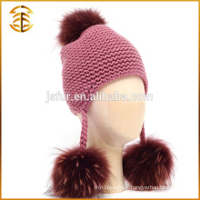 Factory Direct Supply Fashion Winter Kid Raccoon Fur Pompom Hat