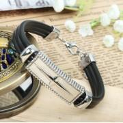 Moda zinco lega rodiato bracciale con stelle decorata e corde di cuoio nero