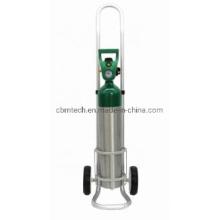 Aluminum Medical Oxygen Bottle Cart Gas Cylinder Trolley for Hospital