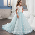 Новый дизайн моды белый и светло-голубой цвет длинный цветок кружева платье Ангела для девочки