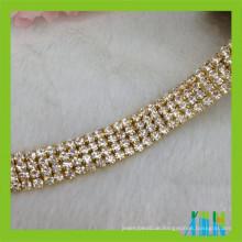 mehrreihige Rhinestoneschalenkette Diamante Cup Kristallzutat für Kleid