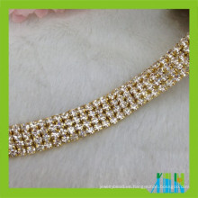 ajuste cristalino multi de la taza del diamante de la cadena de la taza del diamante artificial de la fila para la ropa