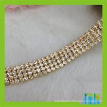 chaîne de tasse de strass de multi rang coupe de cristal de tasse de tonnerre pour le vêtement