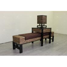 Banco exclusivo de vime de jacinto de água, tamborete de mesa, lâmpada para conjunto de quartos para uso interno