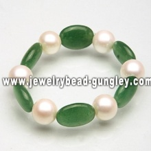 Fashion pearl and jade bracelet
