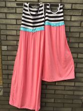 summer Mommy and Me Matching Maxi Dress kids stripe Dress High Waisted mother daughter dress clothes free shipping