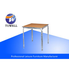 Moisture Proof Uv-resistant Aluminum Wooden Table With Curved Edge Oem Odm