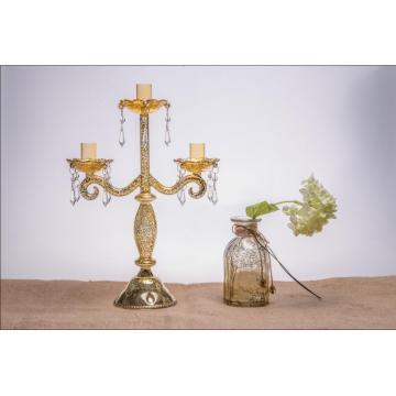 Porte-bougie en verre antique pour décoration de mariage avec trois affiches