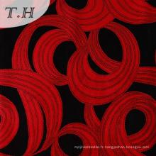 Tissu flocage noir et rouge