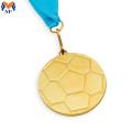 Golden sport football shape medal