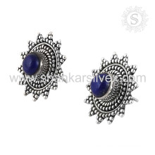 Emphatical lapis silver earring gemstone bridal jewelry 925 sterling silver wholesale jewellery