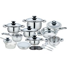 21 Pieces Stainless Steel Wide Edge Pot Set