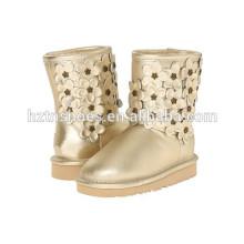 Chaussures en cuir pour femmes Bottes hiver avec fleurs décoratives