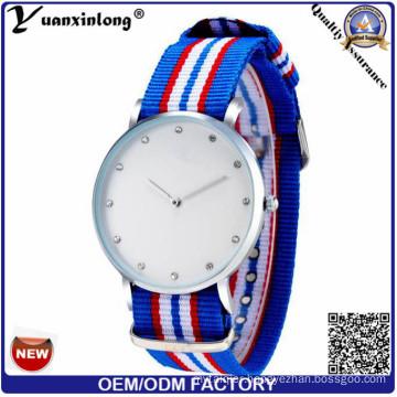 Yxl-252 Classic Nylon Stripes Band Women′s Watches 2016 Fashion Quartz Watch Women Casual Sport Diamond Wristwatch Clock