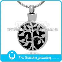 Pendentif d'arbre de vie en acier inoxydable de pendentifs d'urne de bijoux de crémation pour la mémoire