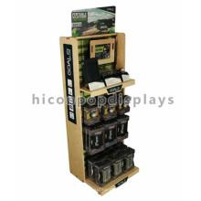 Loja de esportes de qualidade Multi-Layers Visual Merchandising Futebol Acessórios Floor Retail Stand de exibição de madeira