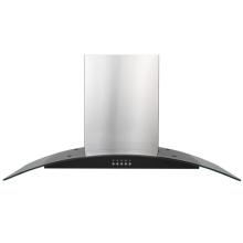Campana de pared de vidrio curvo de acero de 90 cm