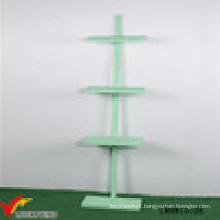 Nice Green Paint 4 Prateleira de piso de madeira em pé com grades