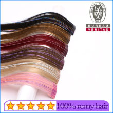 Cuticle Alignment Mixed Colord Hair 1 Piece Clip Hair Extension with Color Ribbons