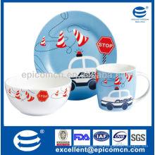 3Pcs Porzellan Frühstücksset BC8050 Geschirr Keramik-Set mit Becher