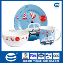 3Pcs porcelain breakfast set BC8050 dishes ceramic set with mug