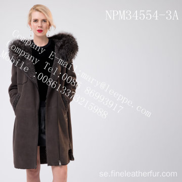 Kvinnor Hooded Medium Fur Overcoat