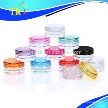 3g 5g 10g pequeños tarros cosméticos plásticos / PS pequeña muestra crema tarro