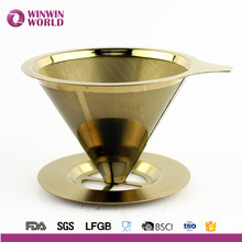 2016 Amzon Hot Selling Stainless Steel Cooper Double Layers Paperless Coffee Dripper For Coffee