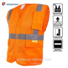 Fluorescent Orange High Visibility Security Traffic Working Clothing ANSI Hi Vis Reflective Surveyor Construction Safety Vest