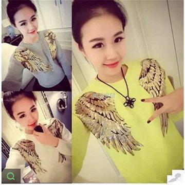 Lantejoulas de pano bordados penas remendos acessórios asas
