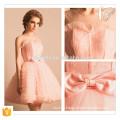 Rosa kurzes Minitututkleid mit reizendem Bogen-neuer Jahr-Weihnachtsfest-Kleid-Dame-Wirt-Kleid-kurzes rosafarbenes Brautjunfer-Kleid