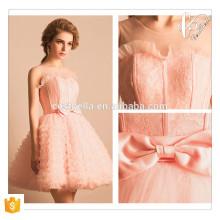 Rosa corto vestido de tutú mini con arco precioso vestido de fiesta de Navidad de Año Nuevo vestido de señora anfitrión corto vestido de dama de honor rosa