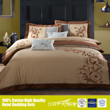 New embroidery design bed sheet set with golden thread