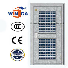 Galvanized Stainless Steel Entrance Security Steel Glass Door (W-GH-27)