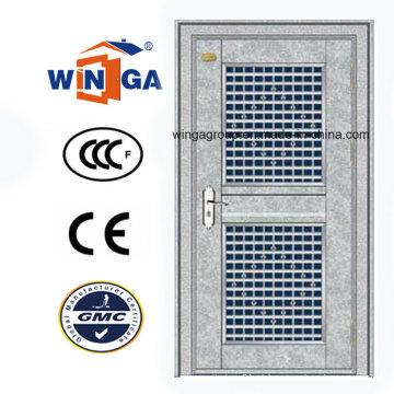 Entrada de aço inoxidável galvanizado Porta de vidro de aço de segurança (W-GH-27)