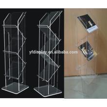 support de brochure acrylique clair de plancher, support de livre en plastique, support de magazine portatif