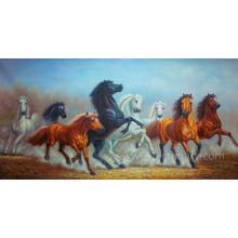 Pintura a óleo pintada mão do cavalo Running