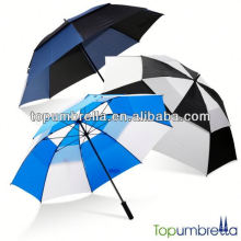 Buena calidad agradable personalizada paraguas doble golf de 30 pulgadas con piezas