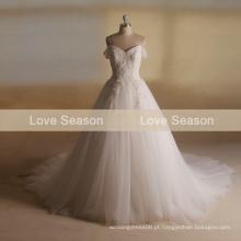 MRY001 cordão de moda organza longo trem novo alemão beaded cap manga vestido de noiva vestidos de casamento grande
