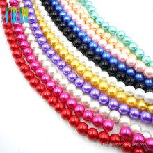 Fancy brillante perlas de vidrio redondo venden hilo