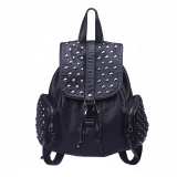 Girls PU leather travel backpack bag, faux leather metal rivet basic pattern school day convertible brief pack rucksack daypack