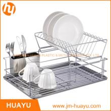 Estante para platos con 2 niveles de Chrome con tablero y taza de escurridor de acero inoxidable