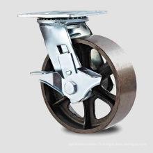 H11 Frein latéral à service lourd Roulement à billes double Roulette en fonte Roulette