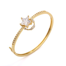 14k Gold- Plated Star Cubic Zirconia Bangle