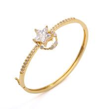 Bracelete de zircônia cúbica de estrela banhado a ouro de 14k