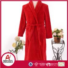Nuevo estilo otoño invierno cálido coral suave fleece mujeres albornoz con zapatilla