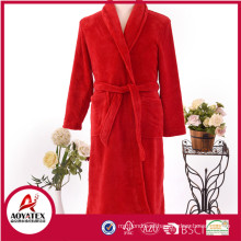 Novo estilo outono inverno quente soft coral velo mulheres roupão set com chinelo