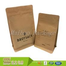 Saco de papel Ziplock Resealable impresso personalizado de Kraft do quadrado do bloco do reforço do lado de empacotamento de alimento